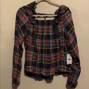 Free people plaid top size L NWT